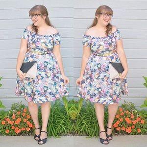 Dresses & Skirts - Purple Floral Off the Shoulder Dress